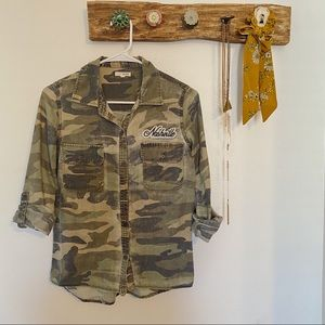 Olive Green Camouflaged Patched Button-Down